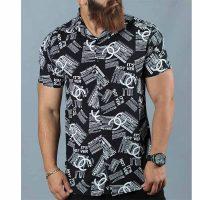 پیراهن هاوایی مردانه زمینه مشکی چاپ ورساچی