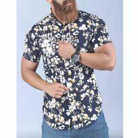 پیراهن هاوایی مردانه طرح گل و برگ