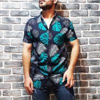 پیراهن هاوایی مردانه نخی گل سبز