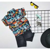 ست پیراهن هاوایی پسرانه و شلوارک طرح لوگو کد 5815