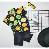 ست پیراهن هاوایی پسرانه و شلوارک طرح لیمو کد 5815