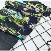 ست پیراهن هاوایی پسرانه و شلوارک طرح منظره زوم کد 5815